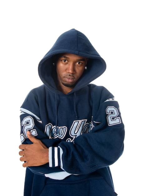 cool junge hip hop mann auf wei em hintergrund download. Black Bedroom Furniture Sets. Home Design Ideas