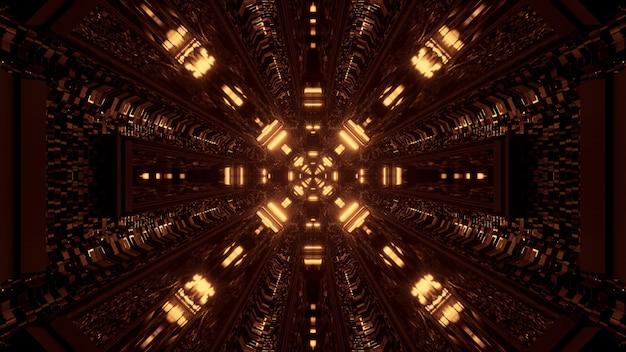 Coole gelbe 3d-rendering futuristische sci-fi-techno-lichter Kostenlose Fotos