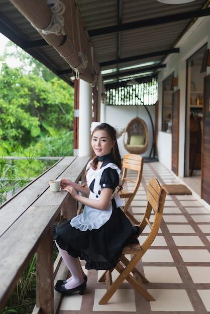 Cosplay nettes mädchen des artmädchens der japanischen art Premium Fotos
