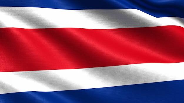 Costa rica-flagge, mit wellenartig bewegender gewebebeschaffenheit Premium Fotos