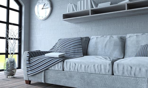 Couch von einem großen fenster iluminated Kostenlose Fotos