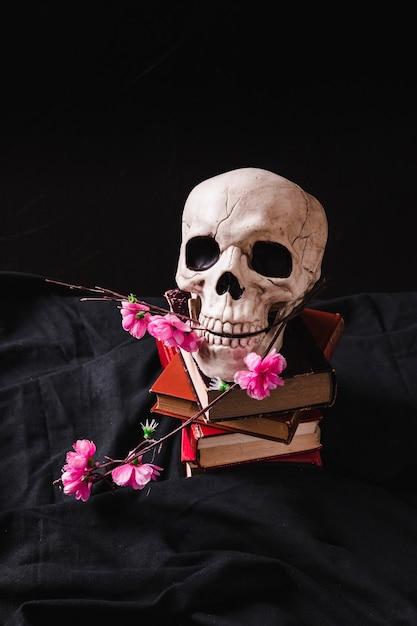 Cranium mit plastikblumen auf stapel der wälzer Kostenlose Fotos