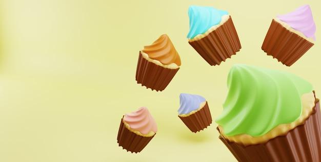 Cupcakes zufällige farbe zuckerguss creme fallen in gelbe oberfläche hintergrund Premium Fotos