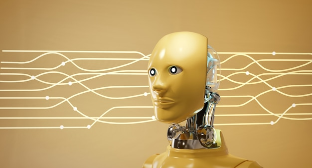 Cyber robot ai head set mit elektrischem lichtstromhintergrund Premium Fotos
