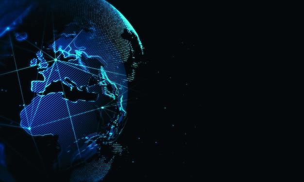 Cyberweltnetzhintergrund. globale geschäftstechnologie Premium Fotos