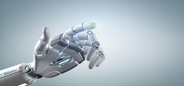 Cyborg-roboterhand auf einer uniform Premium Fotos