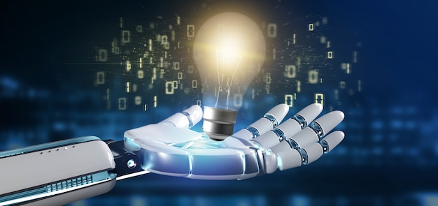 Cyborghand, die eine birnenlampenidee hält Premium Fotos