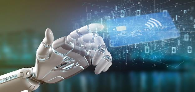 Cyborghand, die eine kontaktlose wiedergabe des kreditkartezahlungs-konzeptes 3d hält Premium Fotos