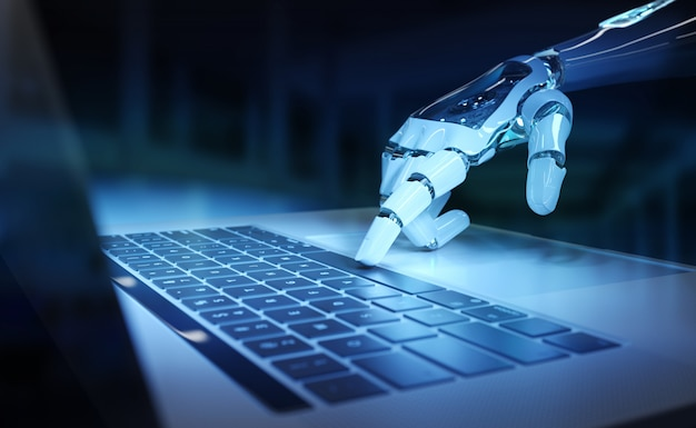Cyborghandpressen einer tastatur auf einer wiedergabe des laptops 3d Premium Fotos