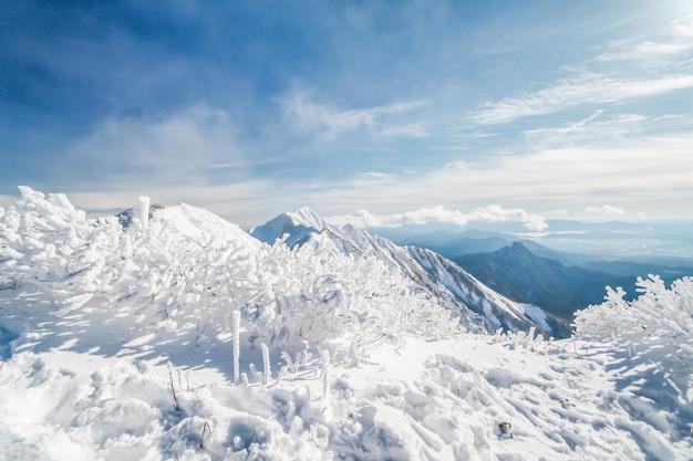 Daisen berg im winter wurde von schnee, japan, geduckt Premium Fotos