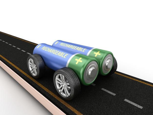 Darstellung der straße mit batterie auf rädern Premium Fotos