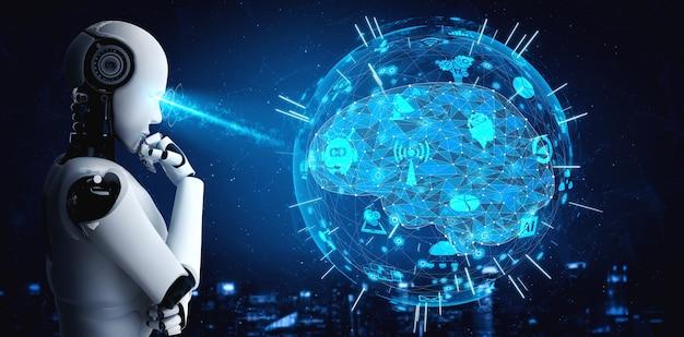 Das denken des ai-humanoiden roboters, der hologrammbildschirm analysiert, zeigt konzept des netzwerks Premium Fotos