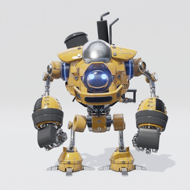 Das design eines mechanischen roboters mit einem kreisförmigen gelben körper Premium Fotos