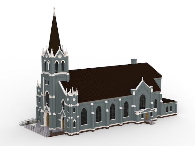 Das gebäude der katholischen kirche, ansichten von verschiedenen seiten. dreidimensionale darstellung auf einem weißen hintergrund Premium Fotos