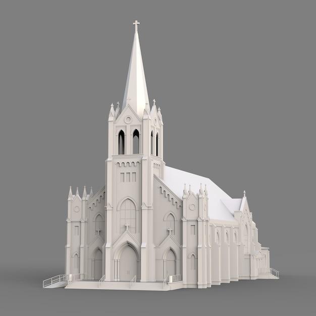 Das gebäude der katholischen kirche, ansichten von verschiedenen seiten. dreidimensionale weiße abbildung auf einer grauen oberfläche Premium Fotos