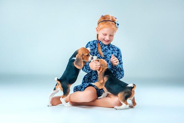 Das glückliche mädchen und der welpe mit zwei spürhunden auf grauer wand Kostenlose Fotos