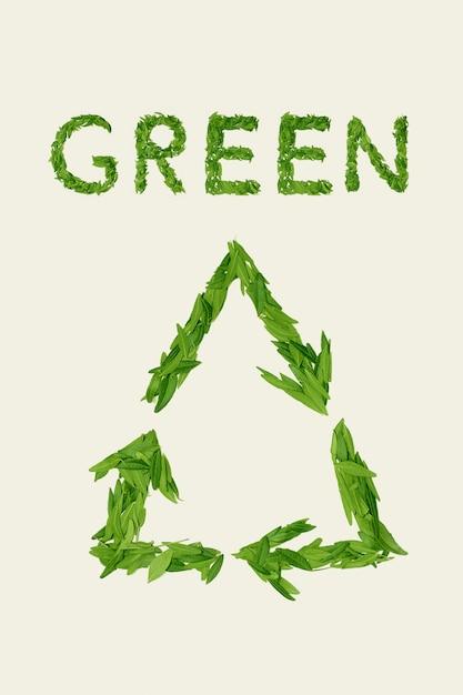 Das grüne trockene teeblatt, wort grün, draufsicht Kostenlose Fotos