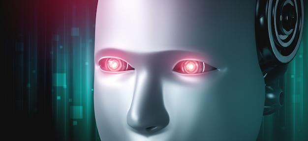 Das humanoide gesicht und die augen des roboters schließen ansicht 3d-rendering Premium Fotos