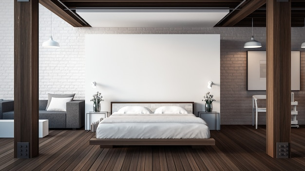 Das loft & modernes schlafzimmer Premium Fotos