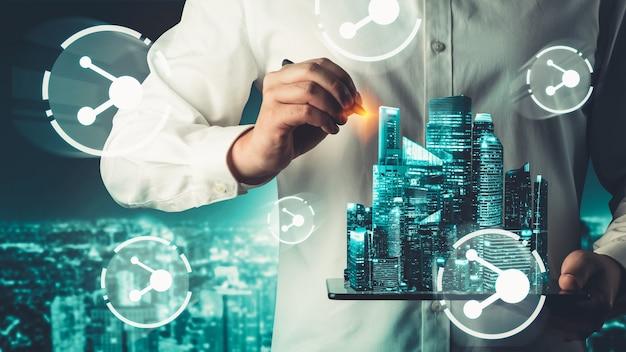 Das moderne kreative kommunikations- und internet-netzwerk verbindet sich in smart city Premium Fotos