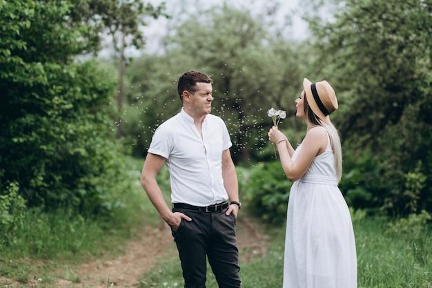 Das reizende paar in der liebe, die auf dem gras steht und löwenzahn durchbrennt Kostenlose Fotos