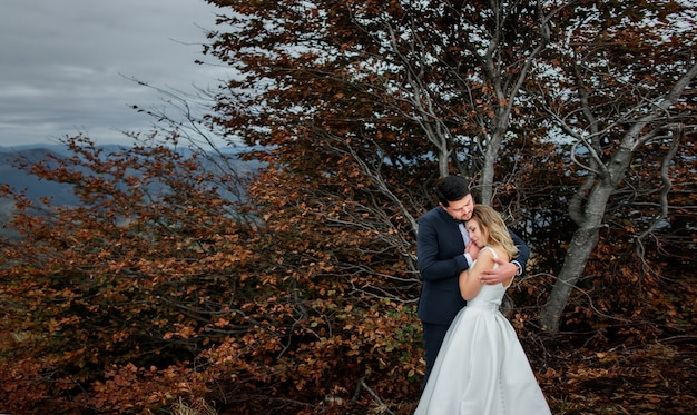 Das reizende paar in der liebe, die nahe baum umfasst Premium Fotos