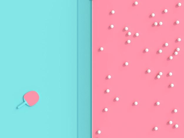 Das themenorientierte 3d ping pong übertragen bild, bälle und schläger auf spieltisch in zwei farben Premium Fotos
