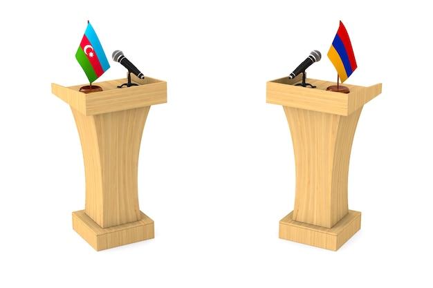 Debatte zwischen aserbaidschan und der republik armenien auf weißem hintergrund. isolierte 3d-illustration Premium Fotos
