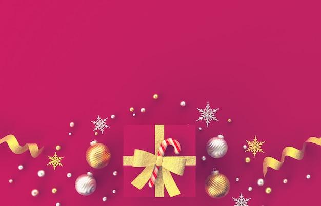 Dekorationszusammensetzung des weihnachten 3d mit geschenken, weihnachtsball, schneeflocke auf rotem hintergrund. weihnachten, winter, neujahr. flache lage, draufsicht, copyspace. Premium Fotos