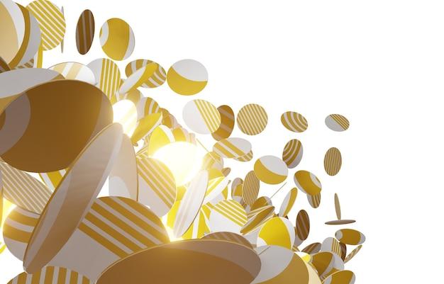 Dekorativer ball des 3d-illustrations-3d-musters, der zufällig fliegt Premium Fotos