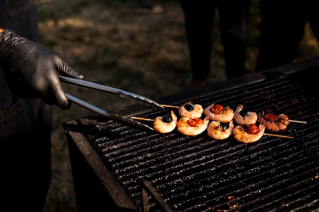 Delikatessengarnelengrill für kampierende mahlzeit Kostenlose Fotos