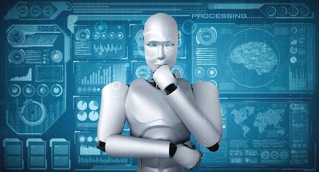 Denken ai humanoider roboter, der hologrammbildschirm analysiert, der konzept-big-data-analyse zeigt Premium Fotos