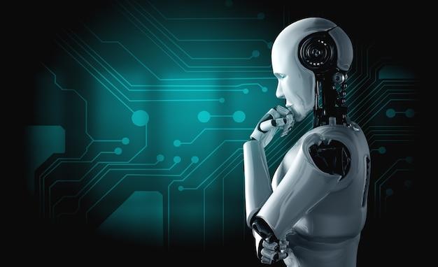 Denken ai humanoider roboter, der informationsdaten analysiert Premium Fotos