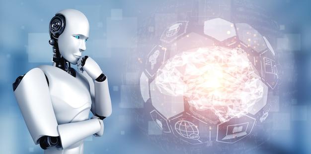 Denkender ai humanoider roboter, der hologrammbildschirm analysiert, der konzept der ki zeigt Premium Fotos