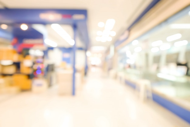 Der abstrakte defokussierte unscharfe hintergrund des einkaufszentrums. unternehmenskonzept. Premium Fotos