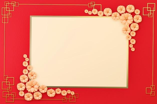 Der flache lage-karten-grenzrahmen des chinesischen neujahrsfests mit blumen-dekoration, 3d übertragen. Premium Fotos