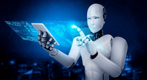 Der humanoide roboter verwendet ein mobiltelefon oder tablet für die big-data-analyse unter verwendung eines ki-denkenden gehirns Premium Fotos