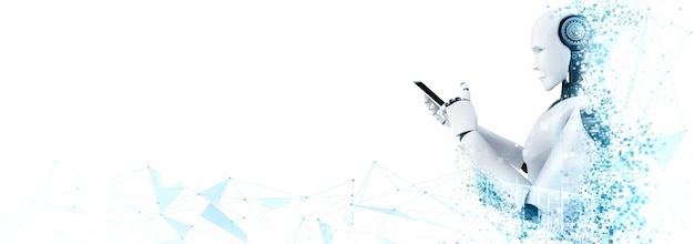 Der humanoide roboter verwendet ein mobiltelefon oder tablet für eine globale netzwerkverbindung Premium Fotos