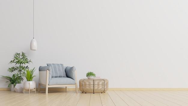 Der innenraum hat einen lehnsessel auf leerem weißem wandhintergrund. Premium Fotos