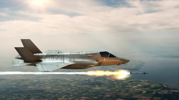 Der kämpfer am himmel startet eine rakete Premium Fotos
