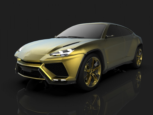 Der neueste sport allrad gold premium crossover im schwarzen studio mit reflektierendem boden Premium Fotos