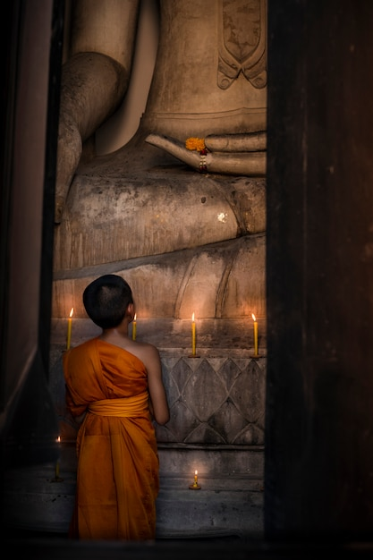 Der novize schaut auf das große buddha-bild in der kirche, um für den respekt der religion zu beten. Premium Fotos
