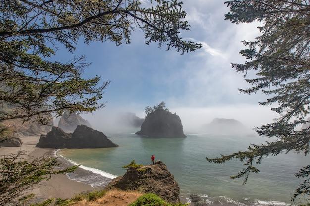 Der reisende, der am geheimen strand, oregon steht Premium Fotos
