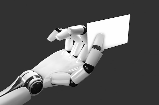 Der roboterarm, der eine leere visitenkarte einzieht Premium Fotos