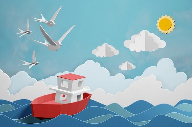 Design der wiedergabe 3d, boot segelt in das meer unter dem sonnenlicht. Premium Fotos