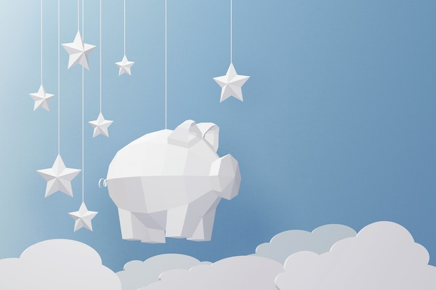 Design der wiedergabe 3d, papierkunst und handwerksstil des niedrigen polyschweins. Premium Fotos