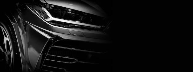 Detail auf einem der led-scheinwerfer super car.copy raum, schwarz und weiß, kopierraum Premium Fotos