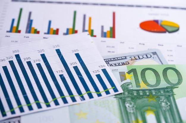 Diagramme diagramme tabellenkalkulationspapier. finanzielle entwicklung, bankkonto, statistik, investment analytic research data economy Premium Fotos