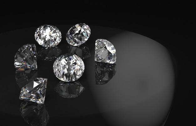 Diamanten gruppieren mit reflexion auf schwarzem hintergrund. Premium Fotos