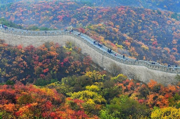 Die chinesische mauer im herbst Premium Fotos